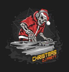 skull santa claus with christmas dj party vector image