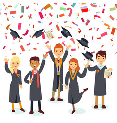 smiling graduates and colorful confetti rain vector image