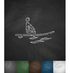 Surfer in ocean icon Hand drawn vector