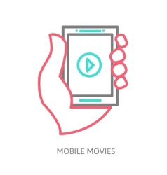 tablet on the hand with video player vector image