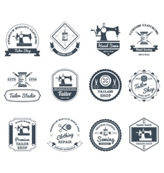 Tailor shop black labels icons set vector image