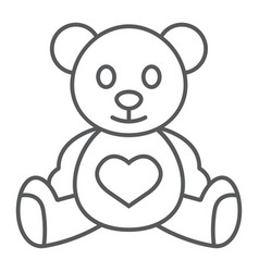 Teddy bear thin line icon child and toy vector