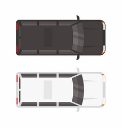 top view two minivan car vector image