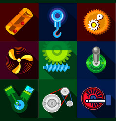 Type of mechanism icons set flat style vector