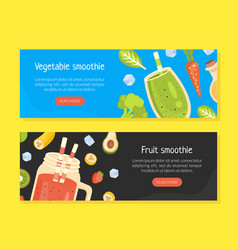 vegetable and fruit smoothies landing page vector image