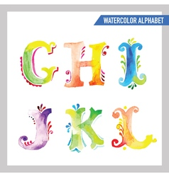 Watercolor Alphabet - ABC Painted Letters G-L vector image