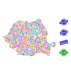Welcome collage of mosaic map of romania and vector