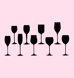 wine glasses silhouette vector image