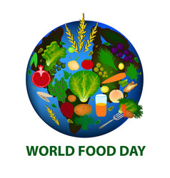 World food day planet earth fruits vegetables vector