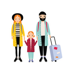 young traveling family of mother father and vector image