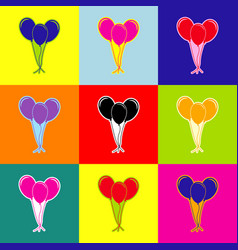 balloons set sign pop-art style colorful vector image