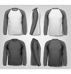 Black and white male long sleeved shirts with vector image