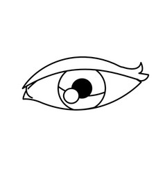 cartoon eye vision optic outline vector image vector image