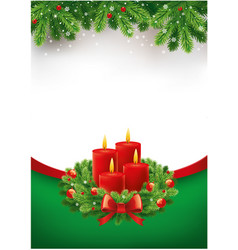 Christmas advent calendar with wreath and candles vector