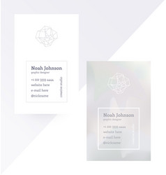 gray double-sided business card with crystal logo vector image vector image