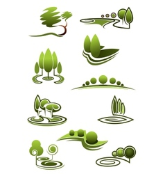 Green trees in landscapes icons vector image vector image