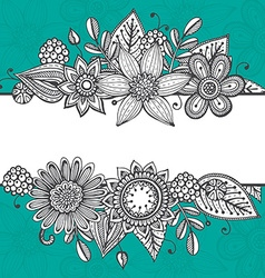 Greeting card template with hand drawn doodle vector image