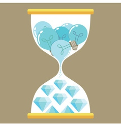 Sand Time Diamond and bulb vector image