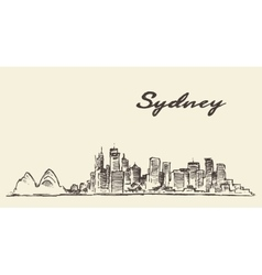 Sydney skyline vintage drawn sketch vector image vector image