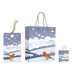 winter bag and tag set vector image vector image