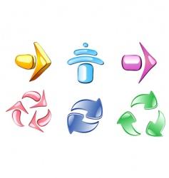 arrow glossy icons vector image