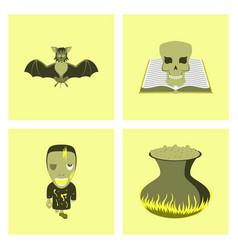 assembly flat spider bat book skull zombie men vector image vector image