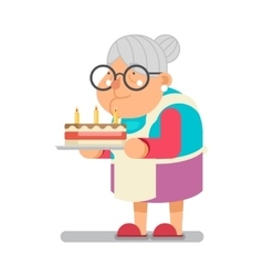 Bake complimentary cake household granny old lady vector