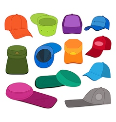 Cap template colored set vector image