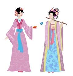 Chinese girls vector image