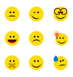 Flat icon expression set of winking hush have an vector