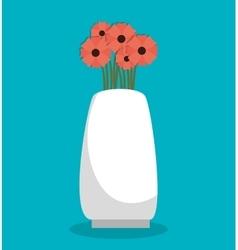 flower pink vase design vector image