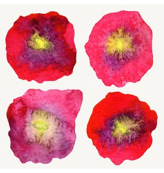Four stylized watercolor poppy flowers vector image
