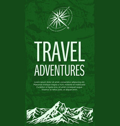 Grunge travel banner with compass rose vector