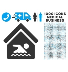 Indoor Water Pool Icon with 1000 Medical Business vector image vector image