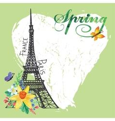 Paris vintage spring cardEiffel towerWatercolor vector image