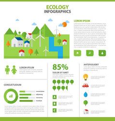 Ecology infographic elements flat design template vector image