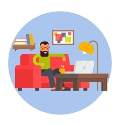 Freelancer home office Remote work Freelance vector image