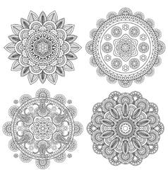 Set of Indian boho floral mandalas vector image vector image