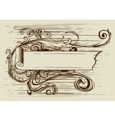 Vintage banner with ribbon and floral vector image vector image