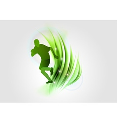 abstract white green runner vector image vector image
