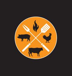 circular barbecue emblem vector image vector image