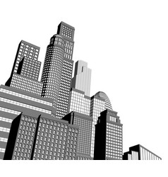 monochrome city skyscrapers vector image