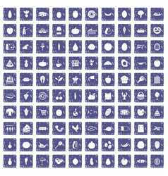 100 natural products icons set grunge sapphire vector image