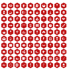 100 tea party icons hexagon red vector image