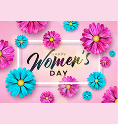 8 march happy womens day floral greeting card vector image