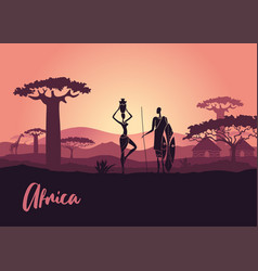 African men and women against sunset vector