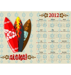 american aloha calendar 2012 vector image