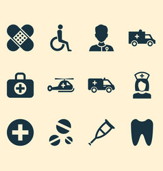 Antibiotic icons set collection of bus copter vector