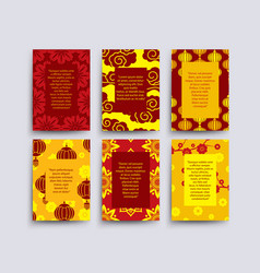 asian style cards collection chinese japanese vector image