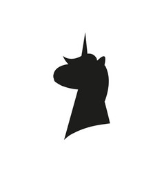 black silhouette of unicorn on white background vector image